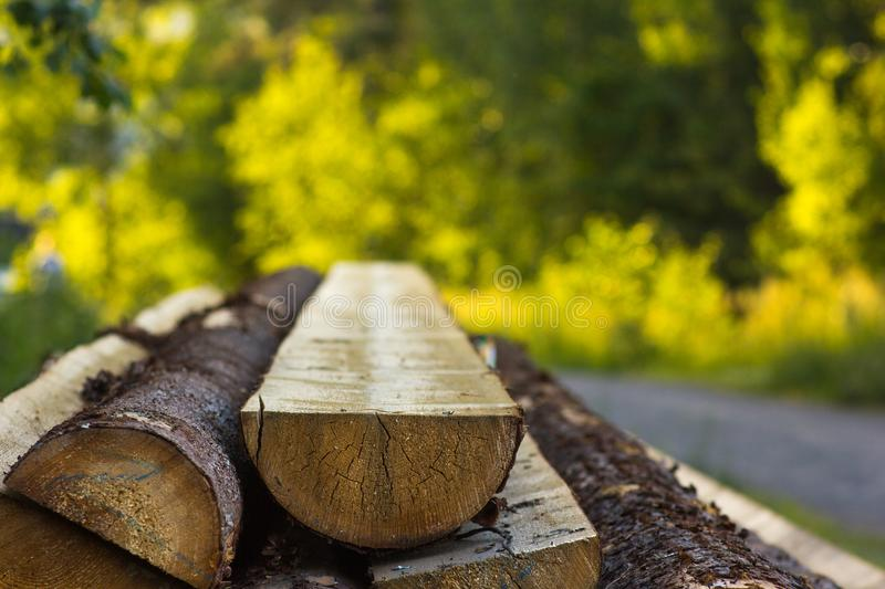 Logs cut in half on a beautiful blurred background stock photography