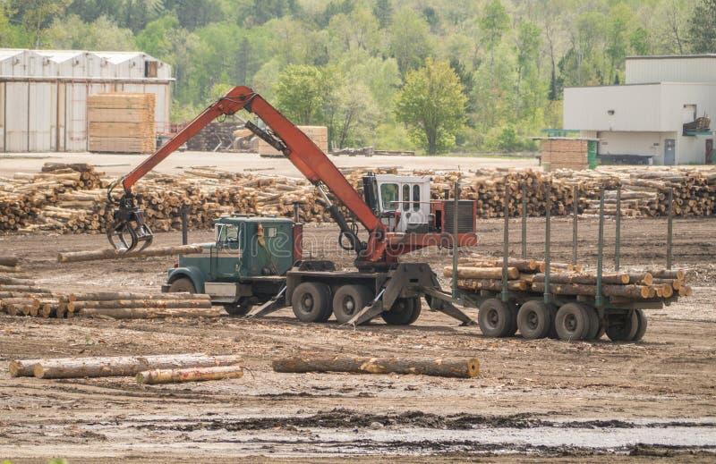 Logs da carga do caminhão fotografia de stock royalty free