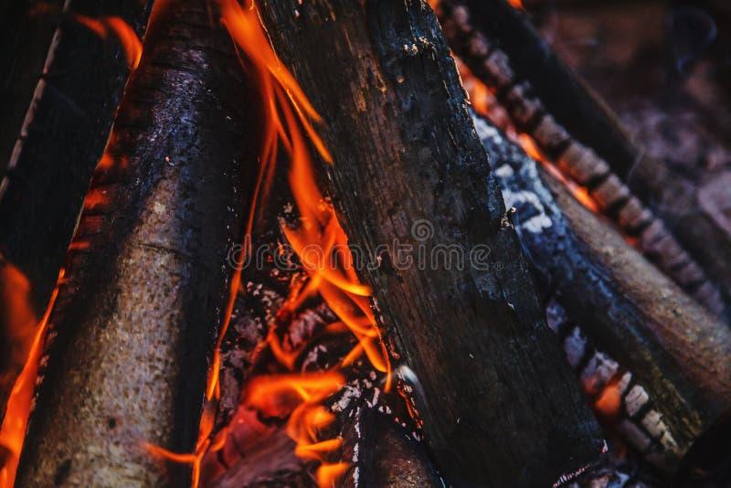 Logs da lenha dos vários tamanhos que queimam-se na chaminé exterior imagem de stock royalty free