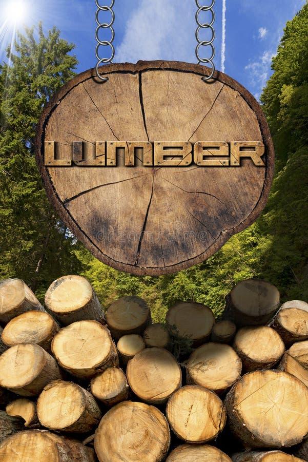 Logs de madeira com sinal da floresta e da madeira serrada ilustração do vetor