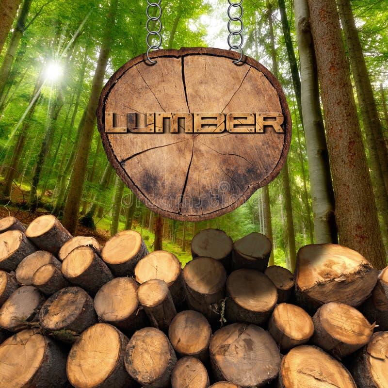 Logs de madeira com sinal da floresta e da madeira serrada ilustração royalty free