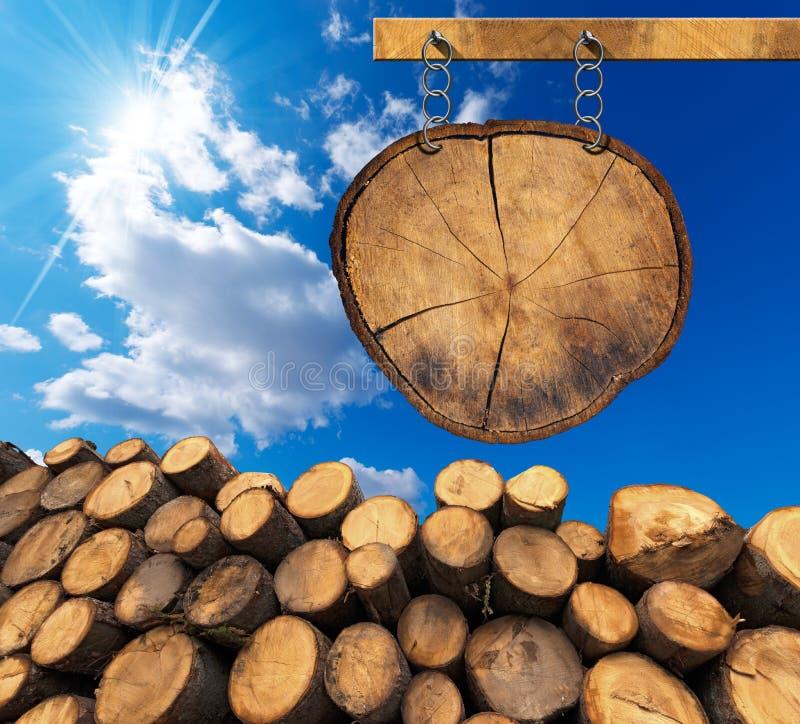 Logs de madeira com sinal de madeira com corrente e Polo ilustração royalty free