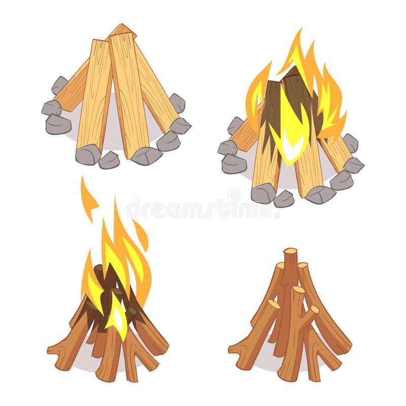 Logs de madeira e fogueira do personagem de banda desenhada isolados no fundo branco ilustração royalty free