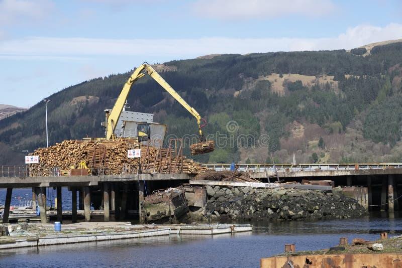 Logs de madeira de levantamento do guindaste da pilha a enviar no loch de mar para o transporte do combustível da biomassa em Esc foto de stock royalty free