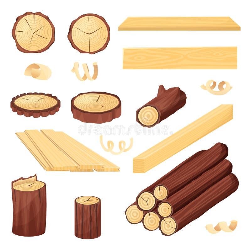 Logs, tronco e pranchas de madeira, ilustração do esboço do vetor Materiais de madeira tirados mão Grupo da lenha ilustração do vetor