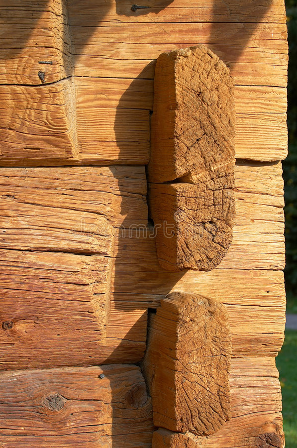 Logs in the wall stock photos