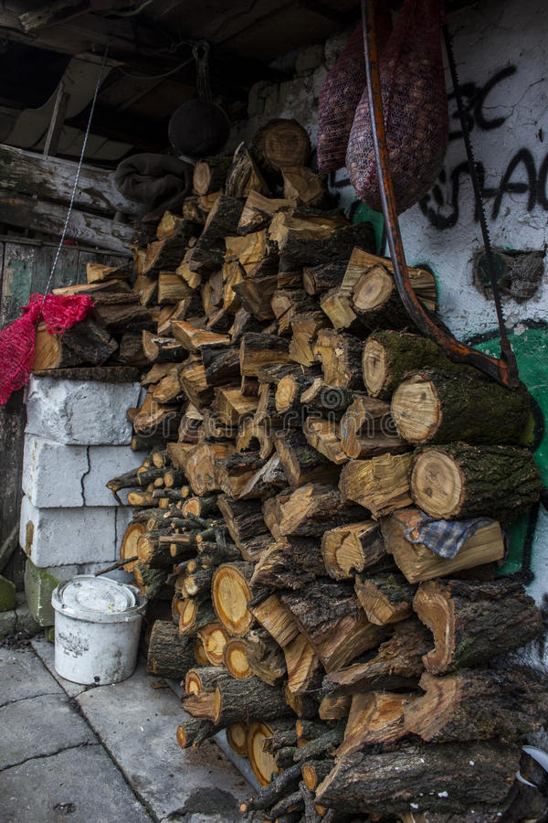 Logs for the winter stock photography