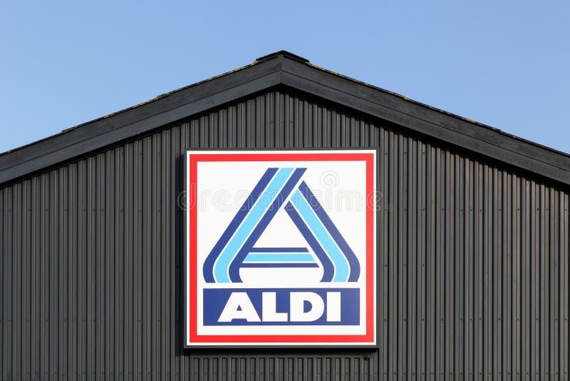 Aldi supermarket logo on a wall royalty free stock image