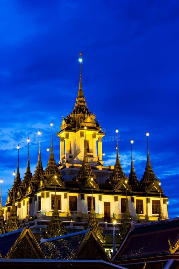 Loha Prasat Metal Palace in twilight time royalty free stock image