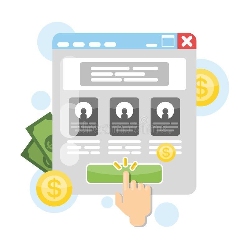 Lohn pro Klicken lizenzfreie abbildung