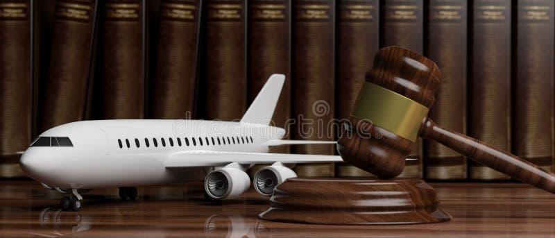 Loi d'aviation Marteau commercial vide d'avion et de juge sur le fond juridique de livres illustration 3D illustration stock