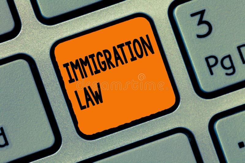 Loi d'immigration d'écriture des textes d'écriture L'émigration de signification de concept d'un citoyen sera légale dans la fabr photo libre de droits