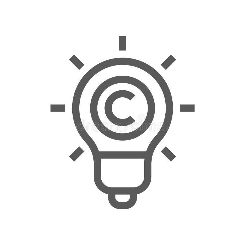 Loi de Digital, ligne plate icône de vecteur de Copyright illustration libre de droits