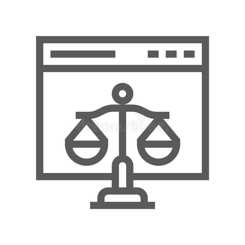 Loi de Digital, ligne plate icône de vecteur de Copyright illustration de vecteur