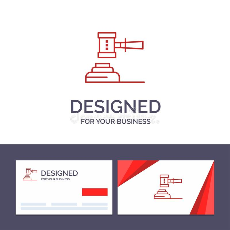 Loi de visite de calibre créatif de carte de visite professionnelle et de logo, action, vente aux enchères, cour, Gavel, marteau, illustration libre de droits