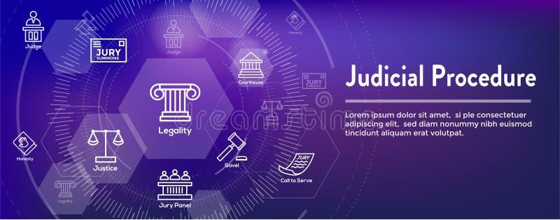 Loi et ensemble juridique d'icône avec le juge, le jury, et les icônes juridiques illustration libre de droits