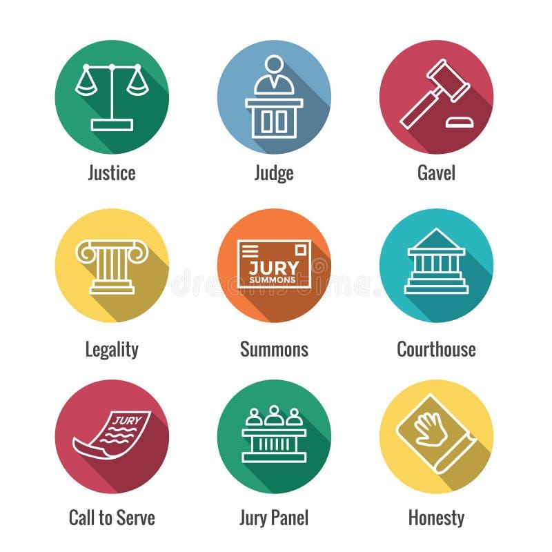 Loi et ensemble juridique d'icône avec le juge, le jury, et les icônes juridiques illustration de vecteur