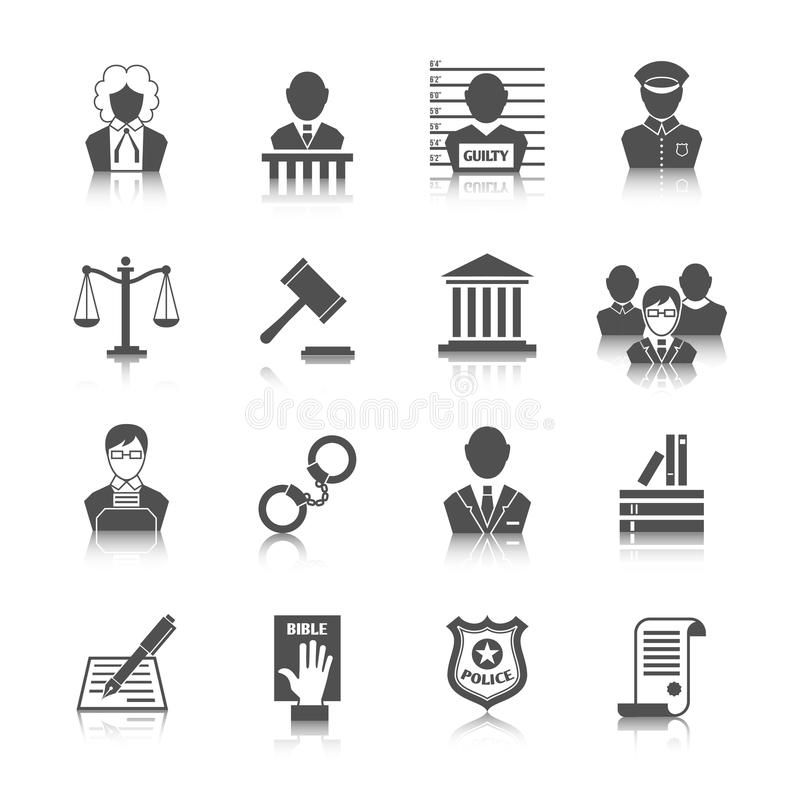 Loi et juge Icons Set illustration stock