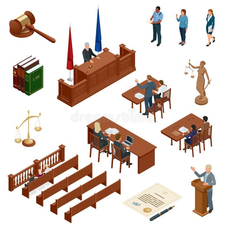 Loi et justice isométriques Symboles des règlements juridiques Icônes juridiques réglées Juridique juridique, tribunal et jugemen illustration stock