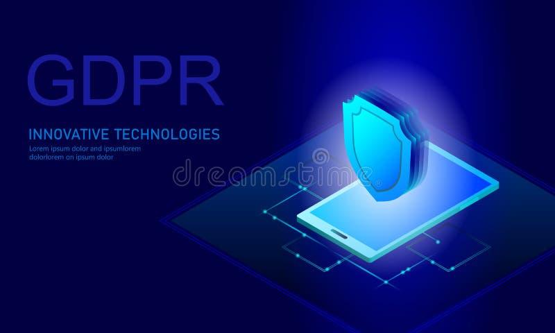 Loi GDPR de protection des données d'intimité Union européenne des informations sensibles de données de bouclier réglementaire de illustration stock