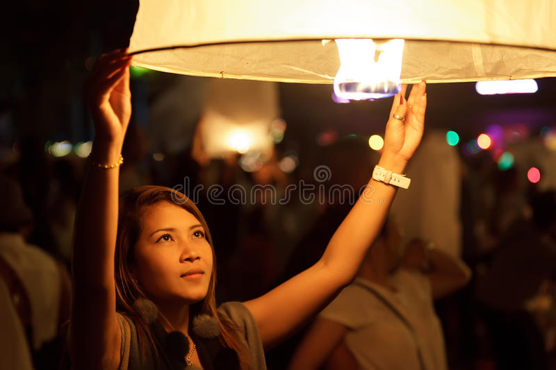 Loi krathong festival stock photography
