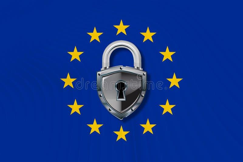 Loi sur la protection des données dans l'Union européenne illustration de vecteur