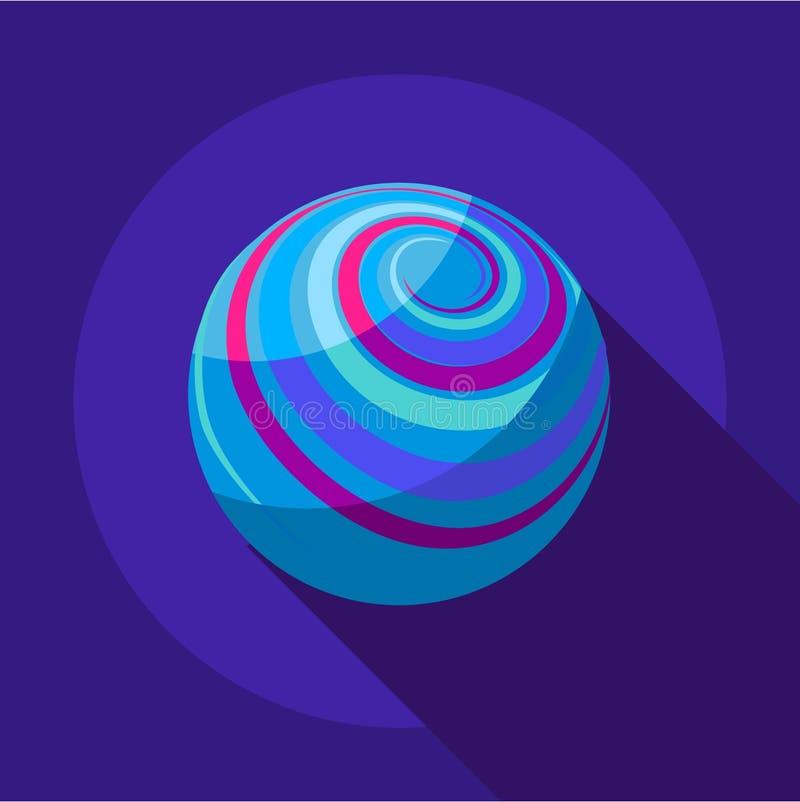 Loin icône de planète, style plat illustration stock