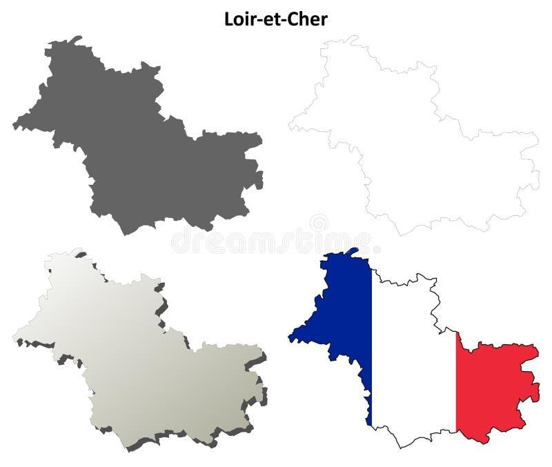 Loir-et-Cher, ensemble de carte d'ensemble de centre illustration stock
