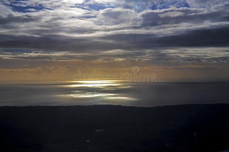 Loire and atlantic ocean from aerial view royalty free stock photo