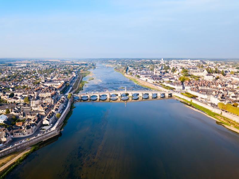 Loire river valley and Blois city stock images