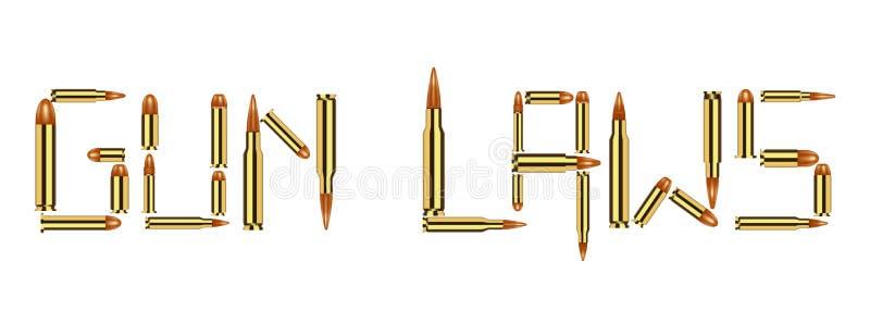 Lois d'arme à feu de munitions de balle sur le fond blanc illustration libre de droits