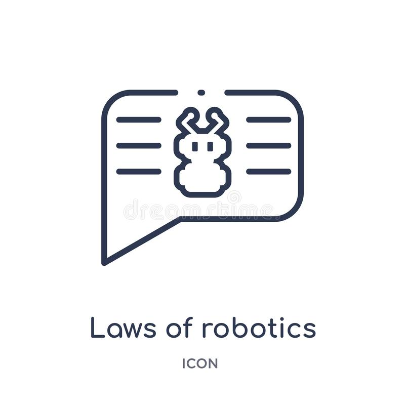 Lois linéaires d'icône de robotique d'intellegence artificiel et de future collection d'ensemble de technologie Ligne mince lois  illustration stock