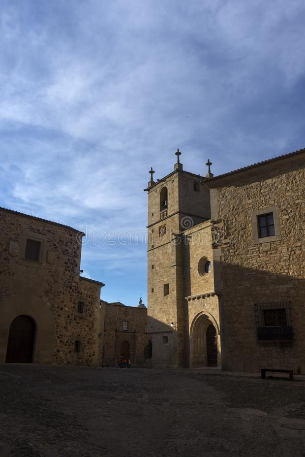 Beautiful medieval city of Caceres in Extremadura. Loitering through the ancient streets of the city of Cceres royalty free stock photography