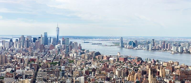 Loiwer Manhattan linii horyzontu widok z lotu ptaka zdjęcie stock