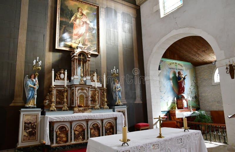 Loix Francja, Wrzesień, - 26 2016: Sainte Catherine kościół zdjęcia royalty free
