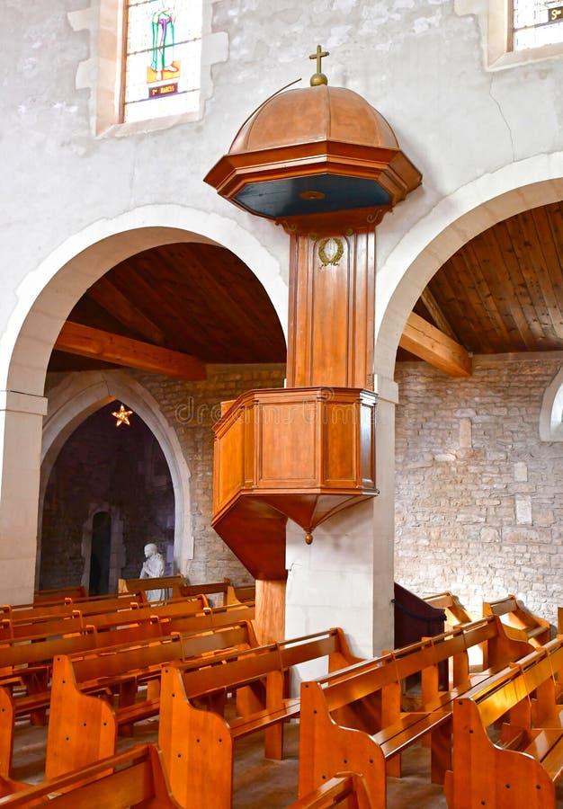 Loix Francja, Wrzesień, - 26 2016: Sainte Catherine kościół fotografia stock