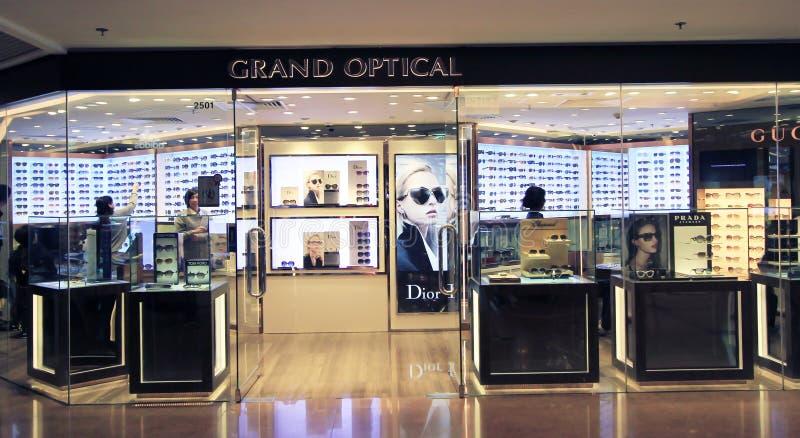 Loja ótica grande em Hong Kong fotos de stock