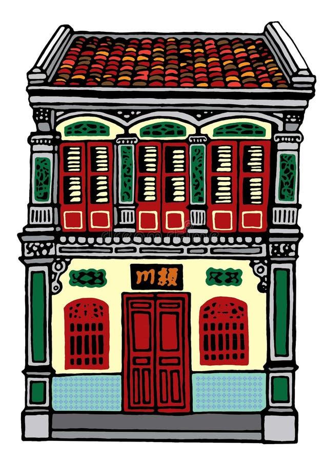 Loja-casa velha em Malásia ilustração stock