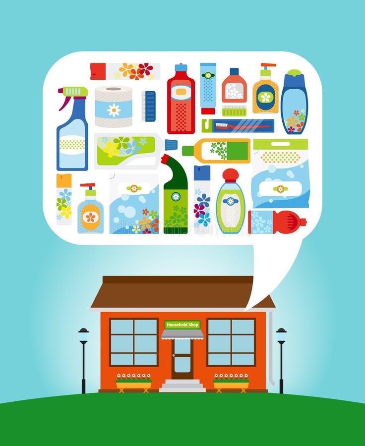 Loja com produtos químicos de agregado familiar ilustração royalty free