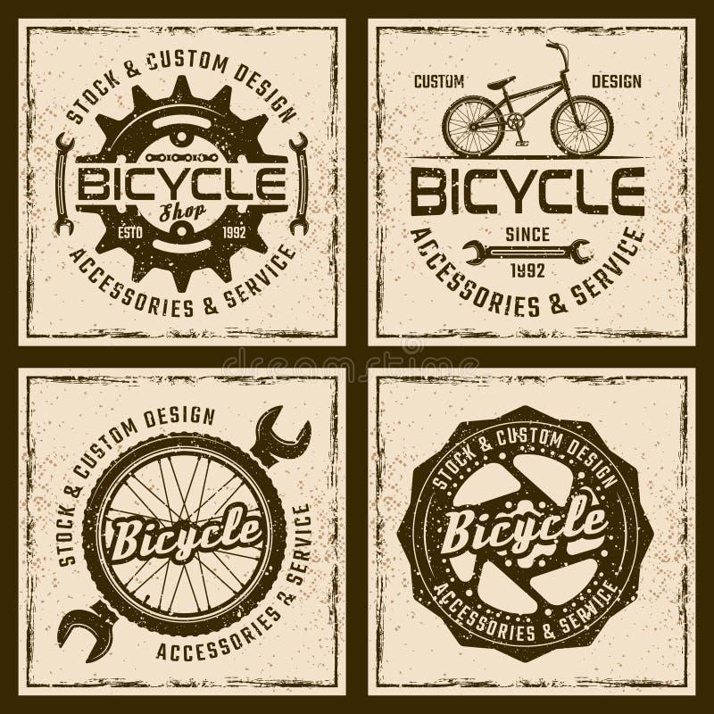 Loja da bicicleta e emblemas coloridos do serviço quatro ilustração do vetor