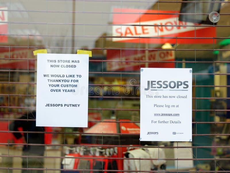 Loja da câmera de Jessops fechado para baixo na rua principal Putney em Londres fotografia de stock royalty free