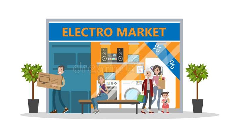 Loja da eletrônica na alameda ilustração do vetor