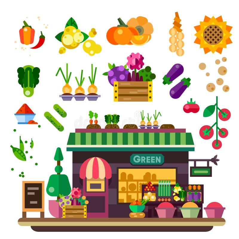 Loja da exploração agrícola, alimento natural ilustração do vetor