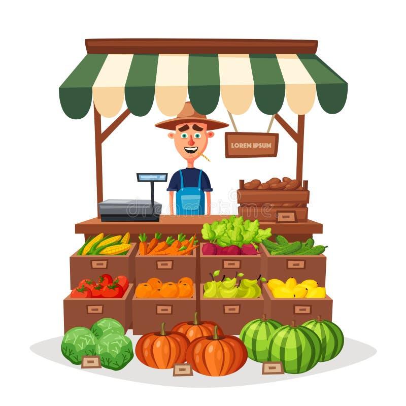Loja da exploração agrícola Mercado local da tenda Vendendo vegetais Ilustração do vetor dos desenhos animados ilustração do vetor