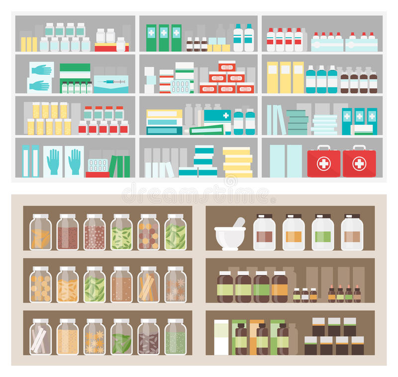 Loja da farmácia e do herborista ilustração royalty free