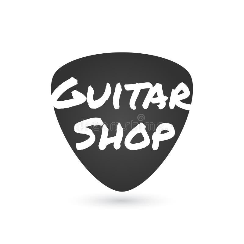Loja da guitarra, logotipo do vetor da loja da música, etiqueta, sinal Ilustração gráfica da picareta da guitarra ilustração stock