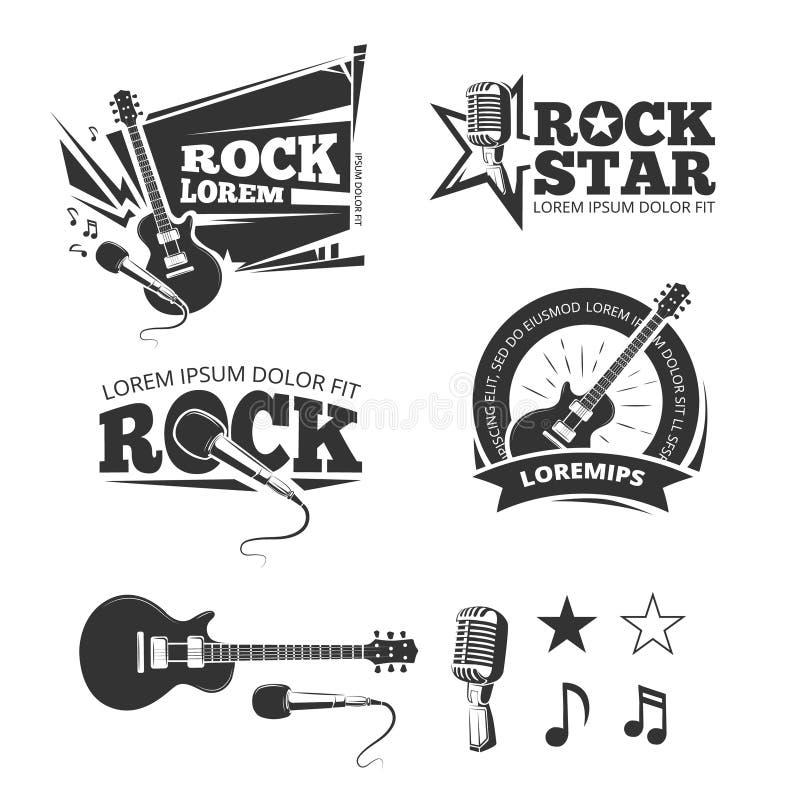 A loja da música rock, estúdio de gravação, etiquetas do vetor do clube do karaoke, crachás, simboliza logotipos ilustração stock