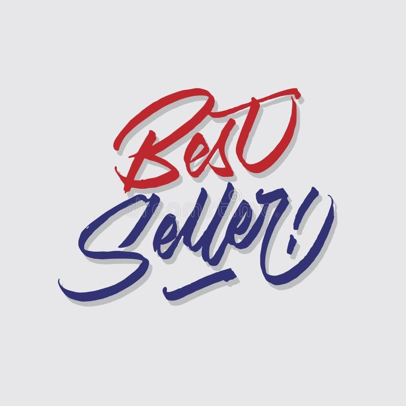 A loja das vendas e do mercado da tipografia da rotulação da mão do melhor vendedor armazena o cartaz do signage ilustração royalty free