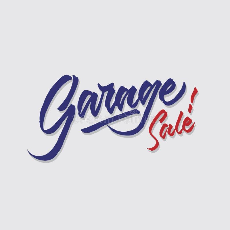 A loja das vendas e do mercado da tipografia da rotulação da mão da venda de garagem armazena o cartaz do signage ilustração royalty free