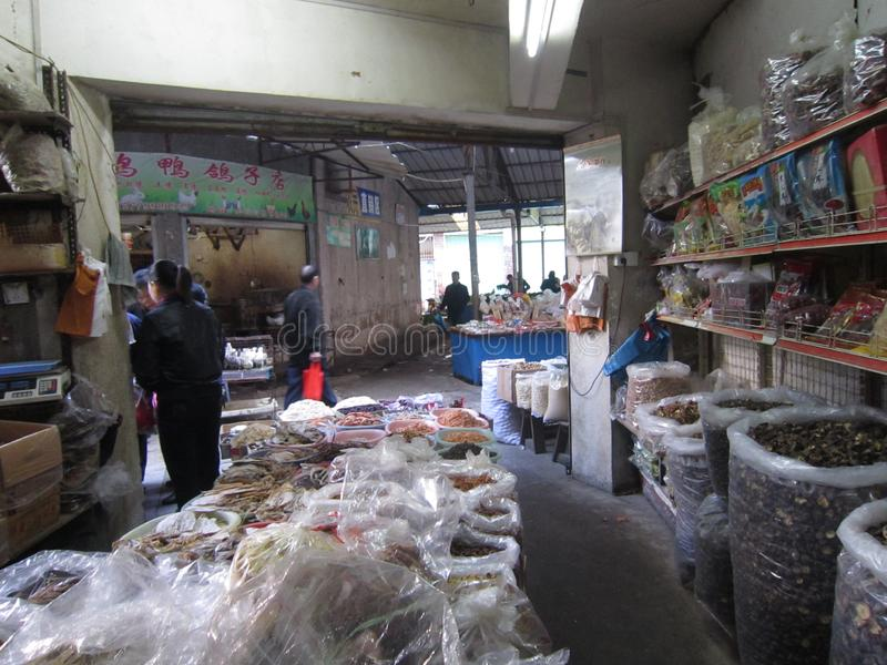 Loja de alimentos preservados, Xiamen, China fotografia de stock